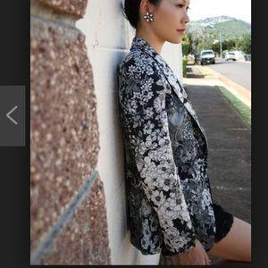 Zara basic floral blazer jacket